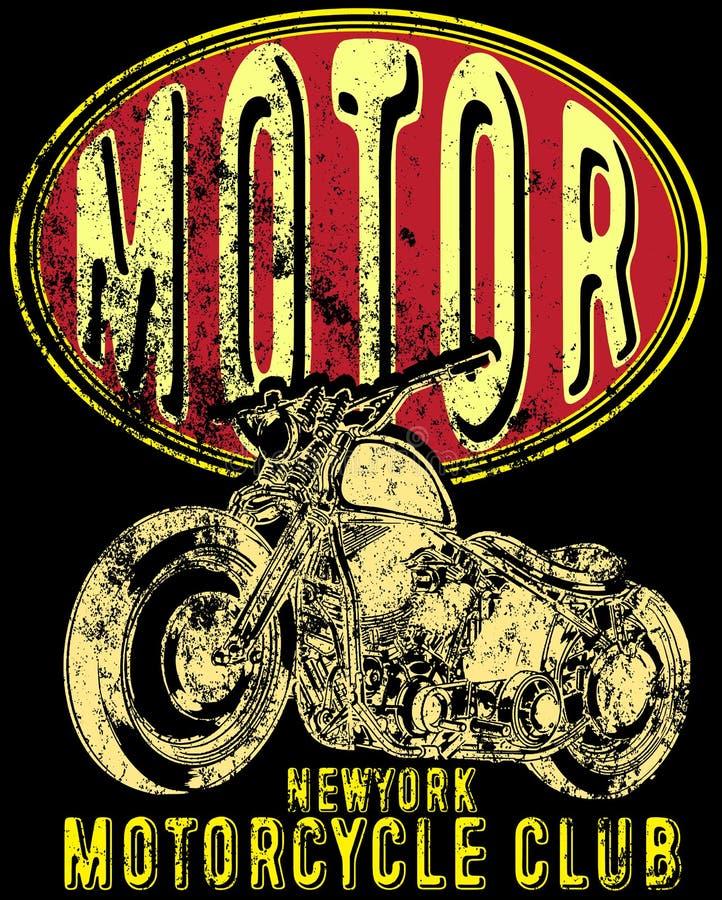 Motociclo d'annata Illustrazione d'annata di lerciume disegnato a mano con illustrazione di stock