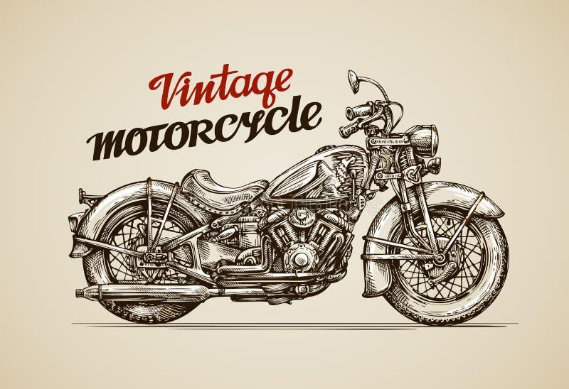 Motociclo d'annata Motocicletta disegnata a mano royalty illustrazione gratis