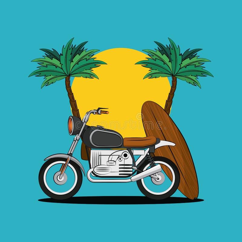 Motociclo d'annata sulla spiaggia illustrazione di stock