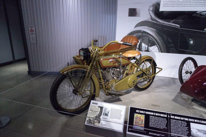 Motociclo 1922 di Harley-Davidson FD di verde immagini stock
