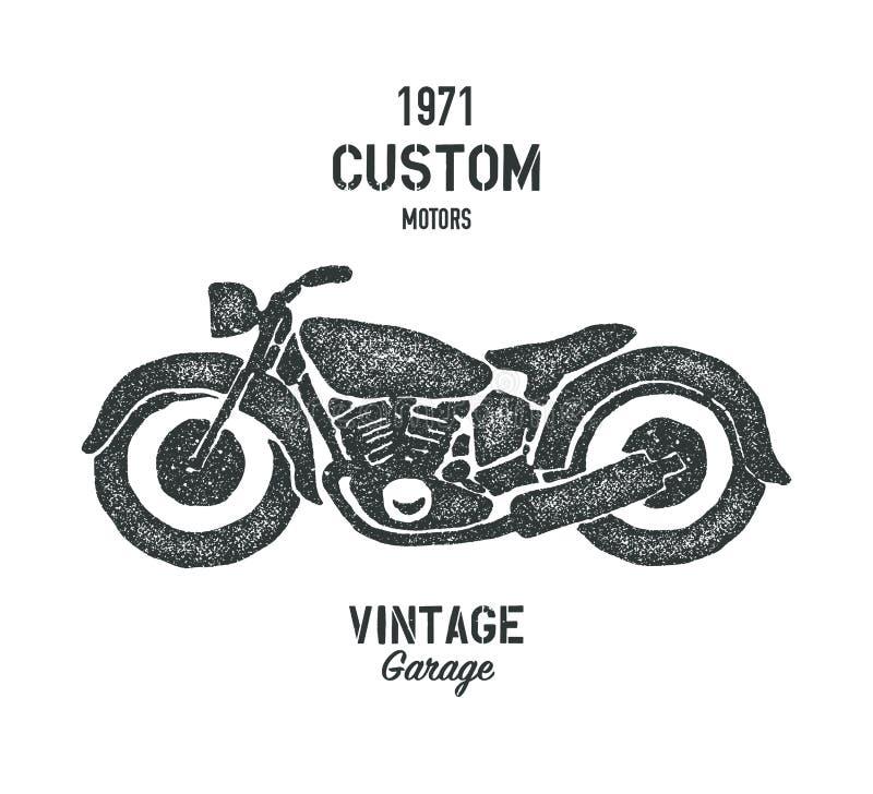 Motociclo grafico disegnato a mano dell'annata della vecchia scuola illustrazione vettoriale