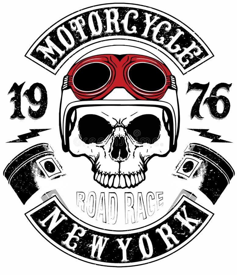 Motociclo Logo Graphic Design della maglietta del cranio illustrazione di stock