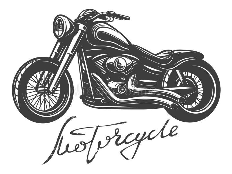 Motociclo monocromatico dettagliato con l'iscrizione della mano Illustrazione di vettore Isolato su bianco royalty illustrazione gratis