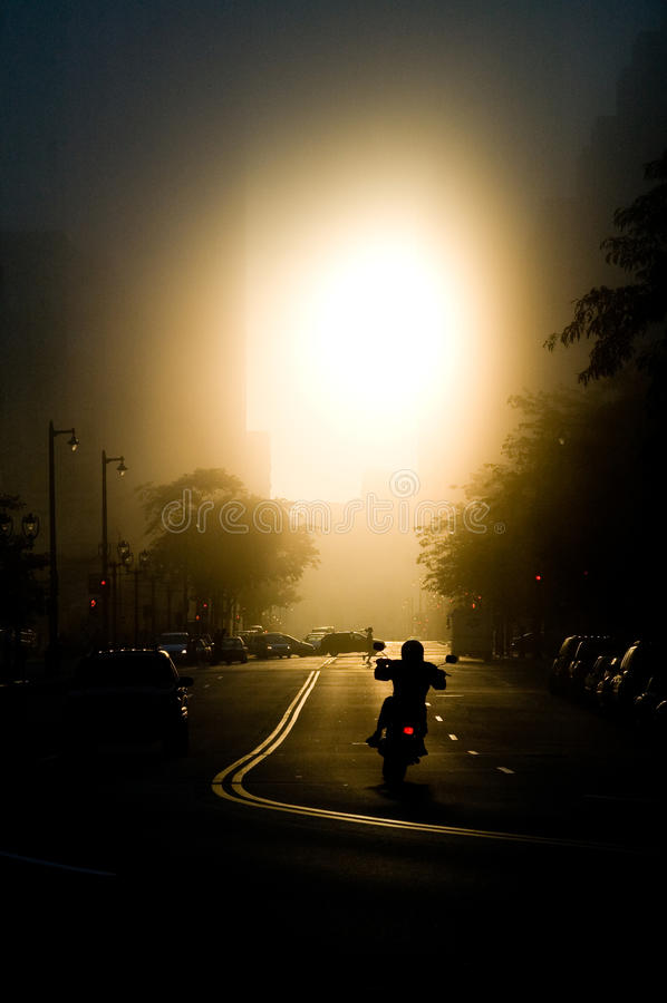 Motociclo Rider Sunset fotografia stock