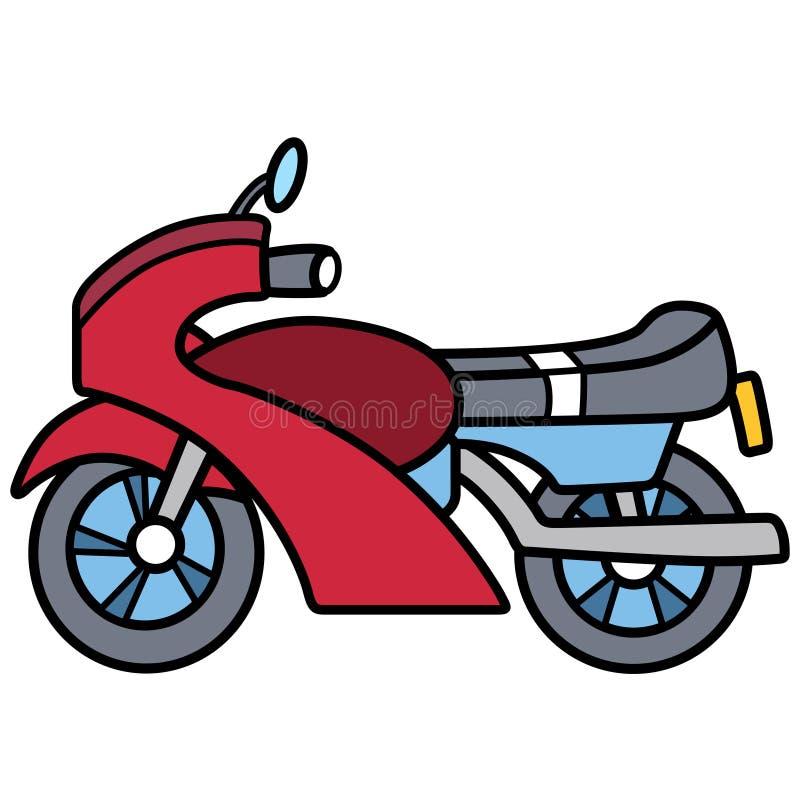 Motociclo semplice lineare separato su spazio bianco illustrazione vettoriale