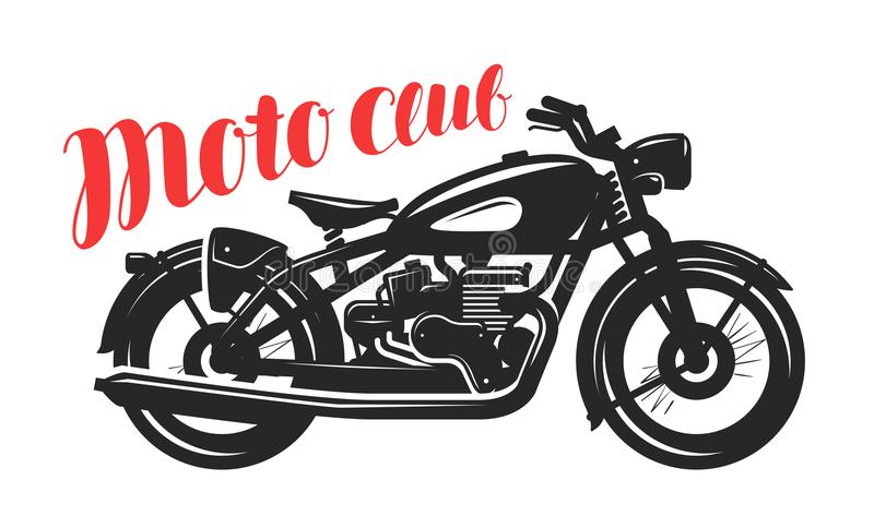 Motociclo, siluetta della motocicletta Logo o etichetta del club di Moto Illustrazione di vettore royalty illustrazione gratis