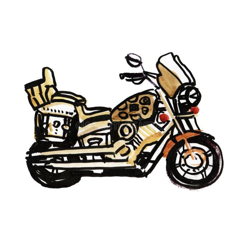 Motociclo Vista laterale Bici classica disegnata a mano del selettore rotante nello stile dell'incisione Illustrazione d'annata i royalty illustrazione gratis