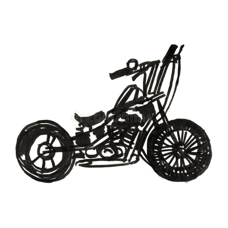 Motociclo Vista laterale Bici classica disegnata a mano del selettore rotante nello stile dell'incisione Illustrazione d'annata i illustrazione di stock