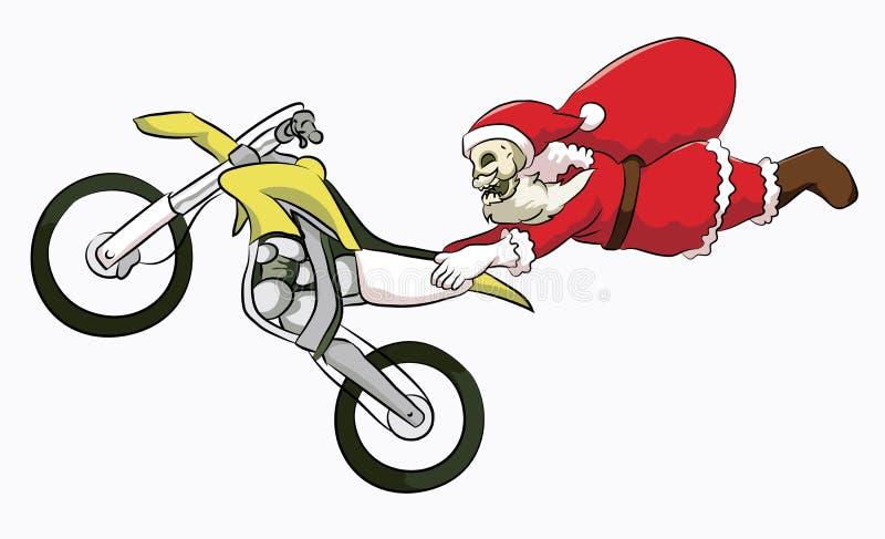 Motocrós del estilo libre de Papá Noel de la cabeza del hueso fotografía de archivo libre de regalías