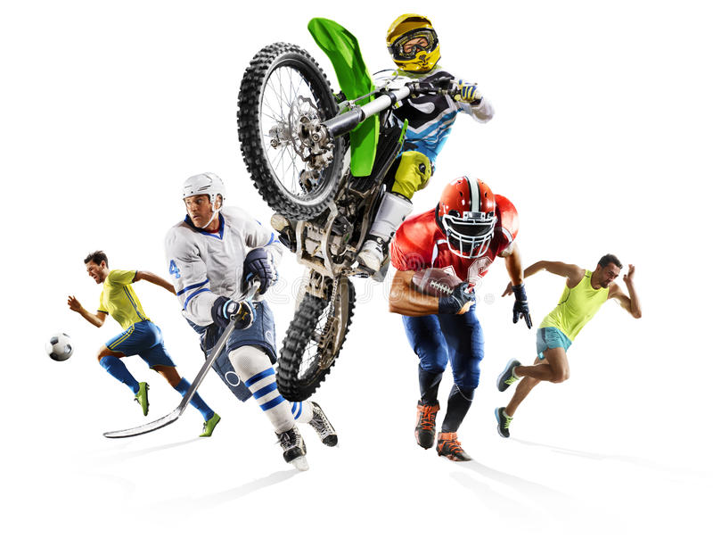 Motocrós multi enorme del hockey del fútbol del atletismo del fútbol del collage de los deportes imágenes de archivo libres de regalías