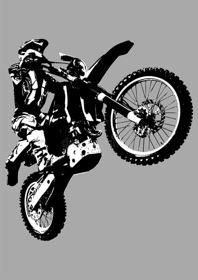 Motocroßfahrrad getrennt auf Grau. lizenzfreie abbildung