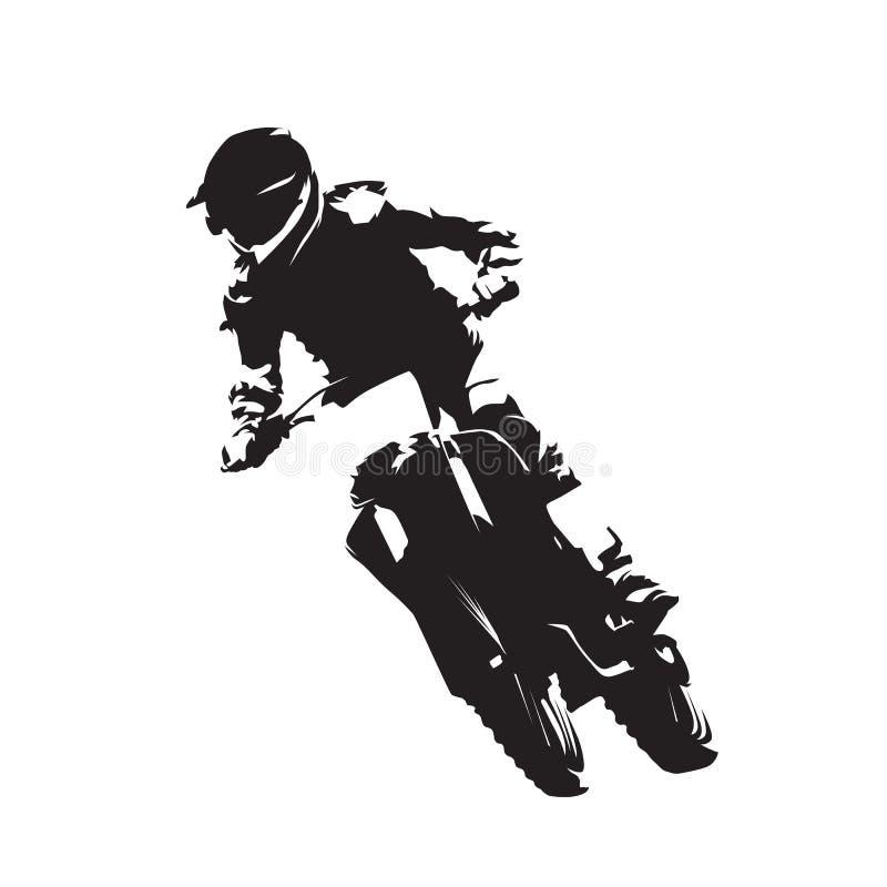 Motocross ściga się, fmx wektoru odosobniona sylwetka ilustracji