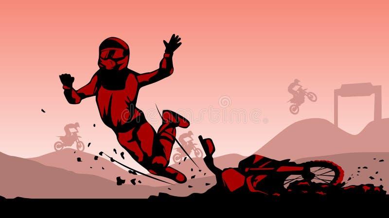Motocross accident hard landing crash illustration vector royalty free illustration