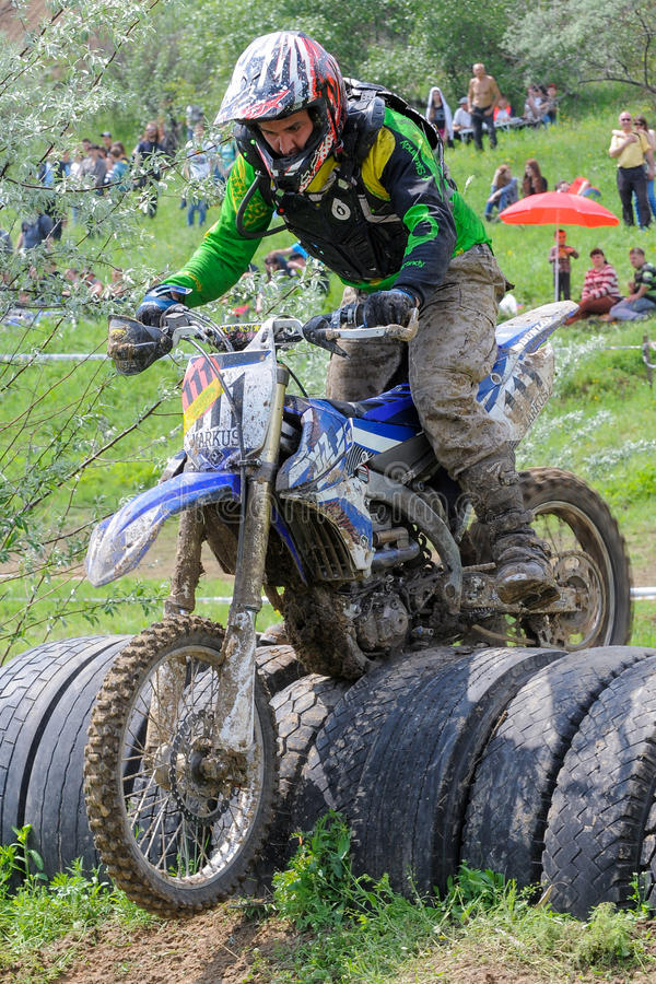 Motocross. First stage of Ukrainian enduro country-cross moto championship. May 15, 2016. Dnipropetrovsk city, Ukraine royalty free stock photo