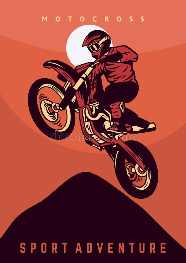 Motocross jump design poster vector illustration vintage retro stock photography