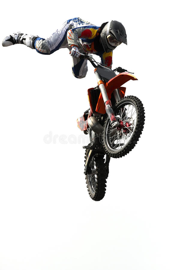 Motocross jumping royalty free stock image