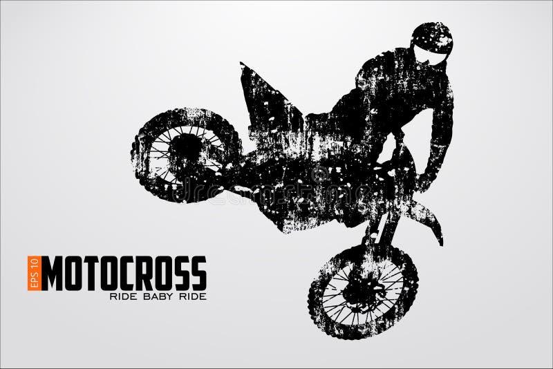 Motocross kierowców sylwetka również zwrócić corel ilustracji wektora