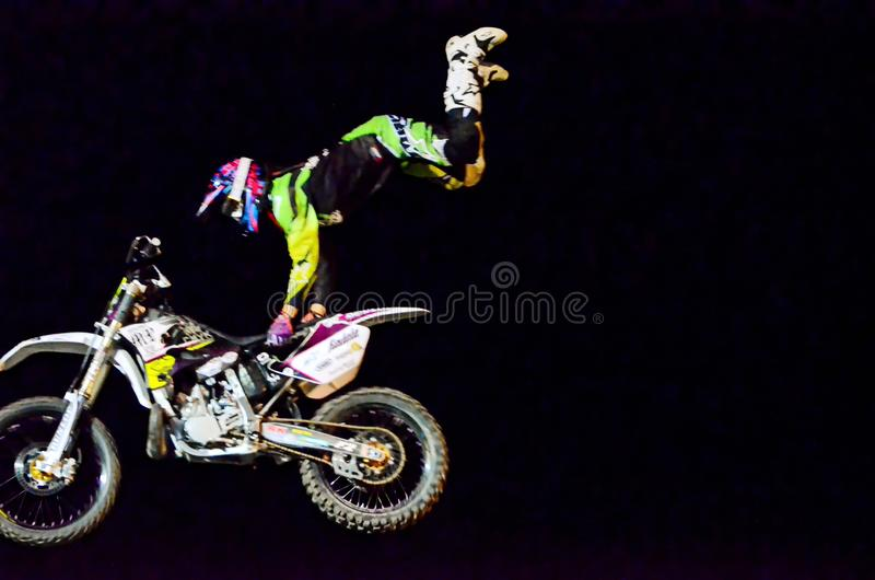 Motorbike Freestyle Show. Motocross Motorbike and Quads Freestyle Show in North Italy 15/09/2014 royalty free stock image
