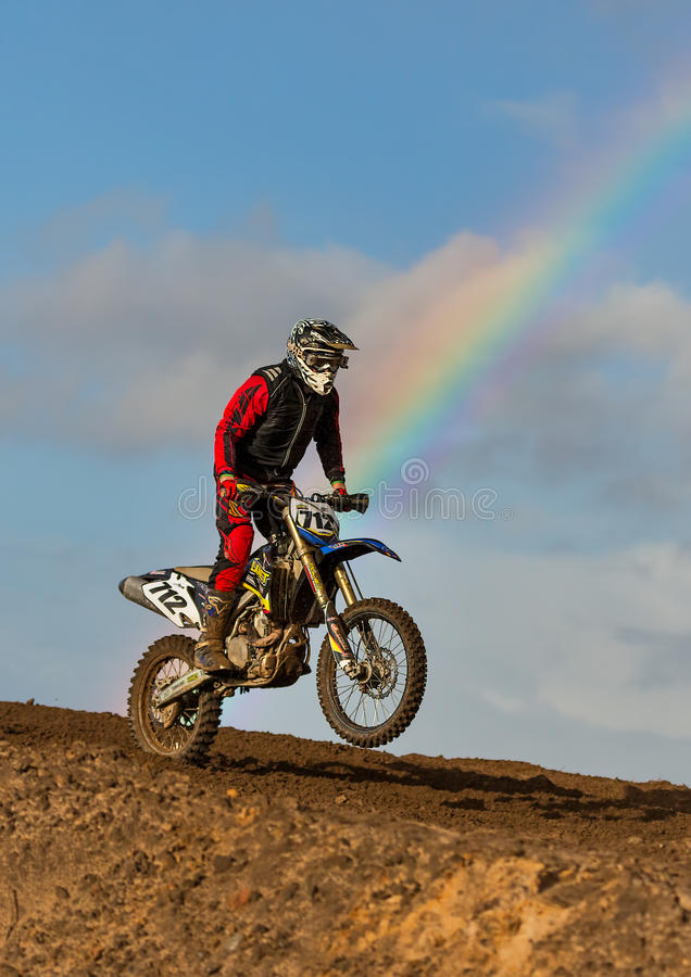 Motocross practise participant in Tain MX, Scotland. royalty free stock images