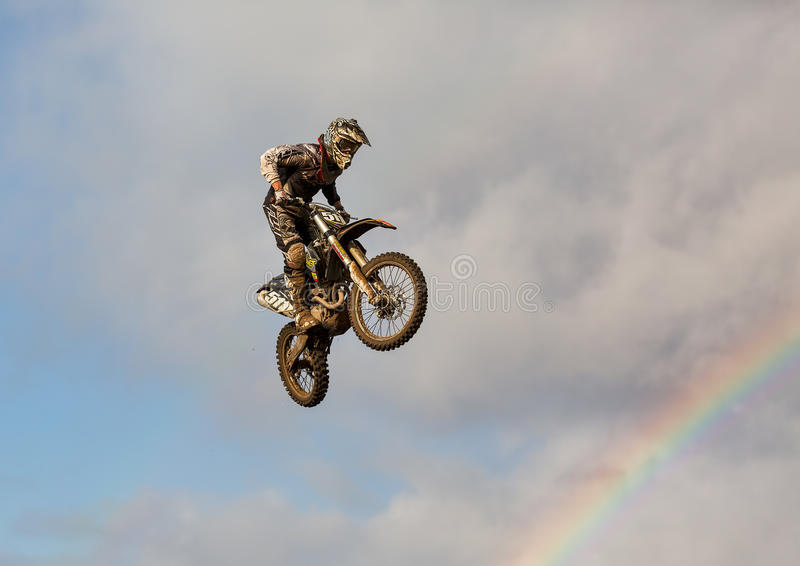 Motocross practise participant in Tain MX, Scotland. This is a Motocross lover at an open to the public practise session at the Tain Motocross Track, Scotland royalty free stock photos