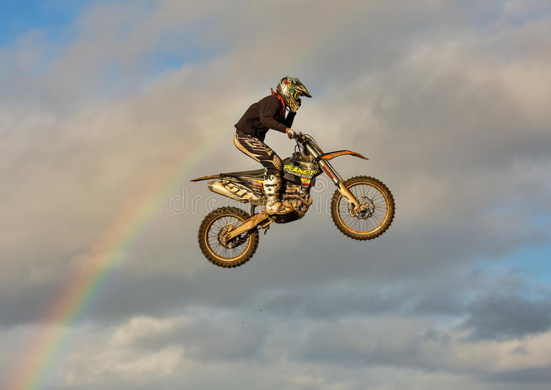 Motocross practise participant in Tain MX, Scotland. This is a Motocross lover at an open to the public practise session at the Tain Motocross Track, Scotland stock images