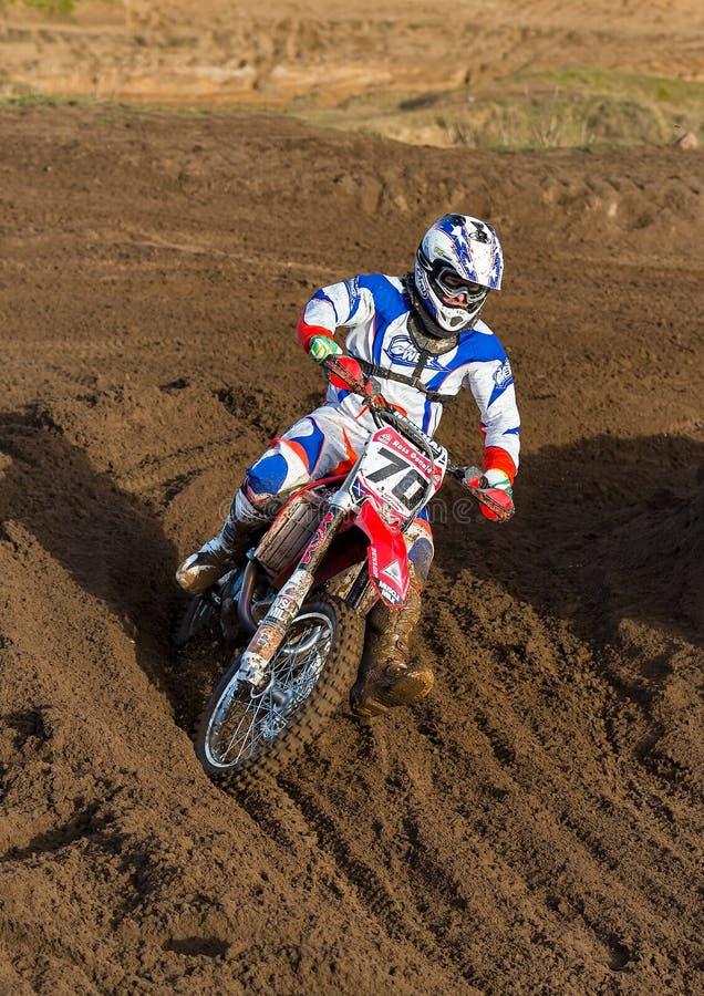 Motocross practise participant in Tain MX, Scotland. stock image