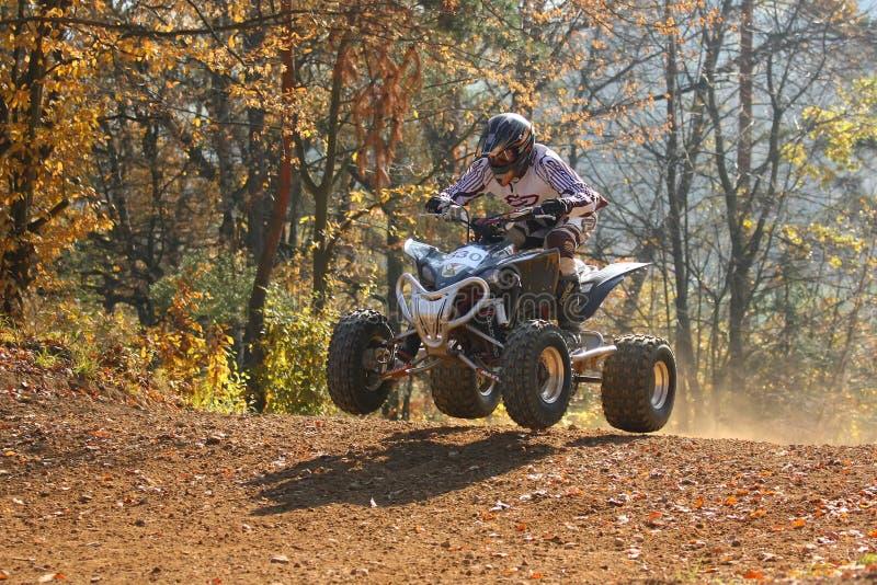 Motocross Race. ZABREH, CZECH REPUBLIC - OCTOBER 30. Unidentified racer riding a quad. Race ATVs in Zabreh, Czech Republic went up 30 October 2010 stock photography