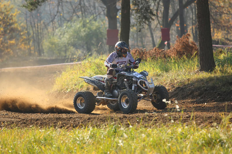 Quad race. In ZABREH, CZECH REPUBLIC - OCTOBER 30. Motocross race called the Zabrezky motocross. Unidentified racer riding a quad. The race went up in Zabreh stock images