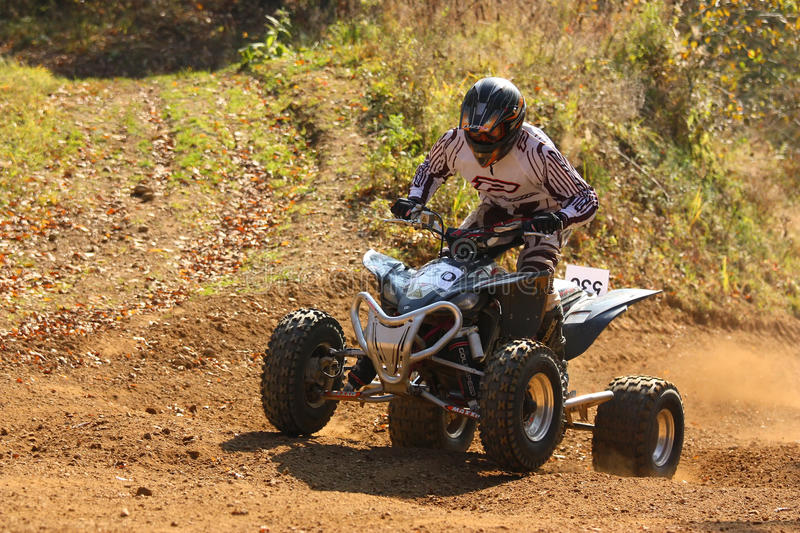 Motocross race. In ZABREH, CZECH REPUBLIC - OCTOBER 30.  called the Zabrezky motocross. Unidentified racer riding a quad. The race went up in Zabreh, Czech royalty free stock photos