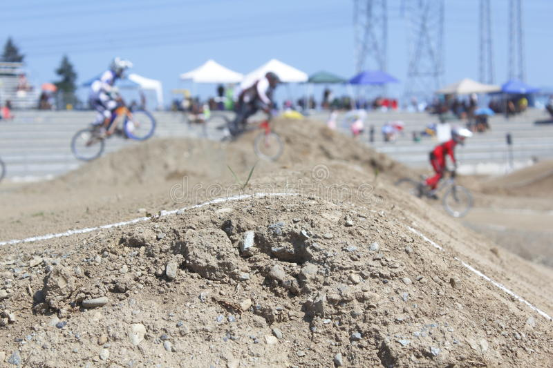 Motocross Racing. Children cycling in a local bmx motocross event stock photo