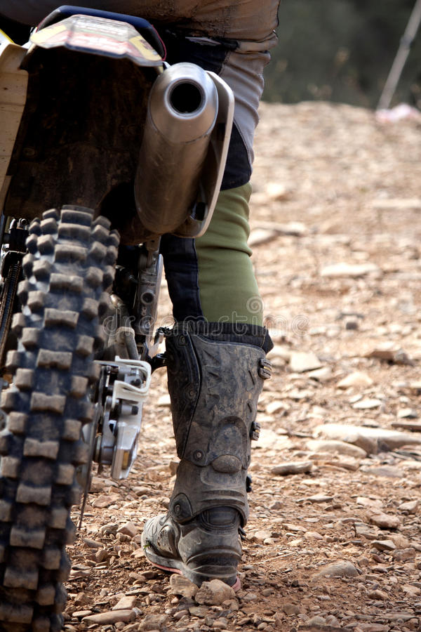 Motocross rider detail stock photography