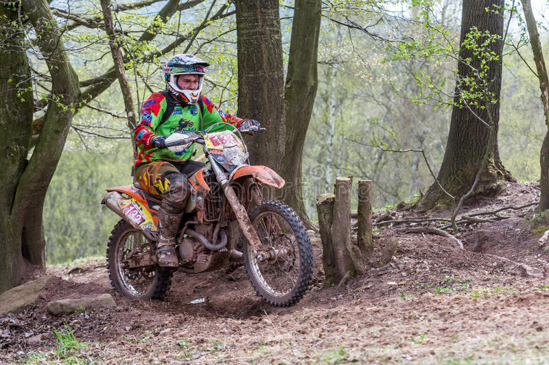 Motocross rider at the Drapak Rodeo Race. Drapak Rodeo Race: most extreme enduro race in Czech Republic, which took in Petrikovice in Czech Republic 25th April stock image
