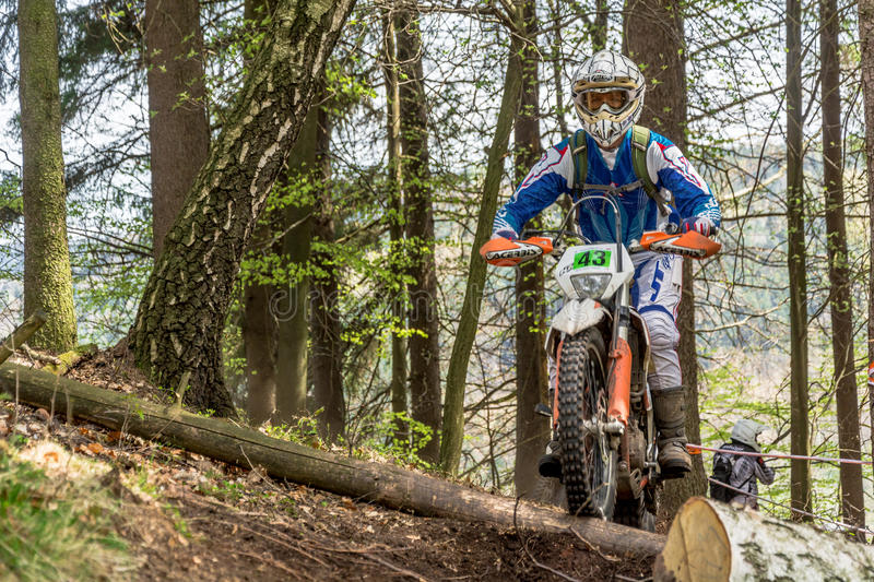 Motocross rider at the Drapak Rodeo Race. Drapak Rodeo Race: most extreme enduro race in Czech Republic, which took in Petrikovice in Czech Republic 25th April stock images