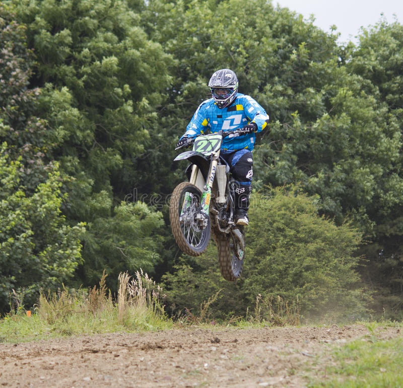 Motocross Riders. Motocross riders practice at track at Cambois, Northumberland stock photos