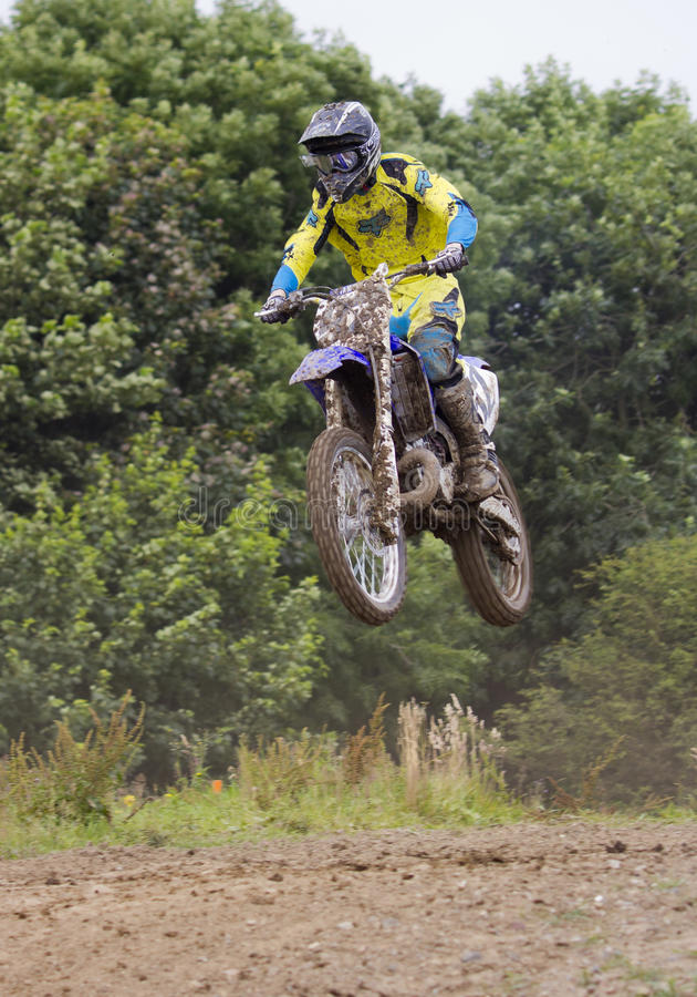 Motocross Riders. Motocross riders practice at track at Cambois, Northumberland royalty free stock images