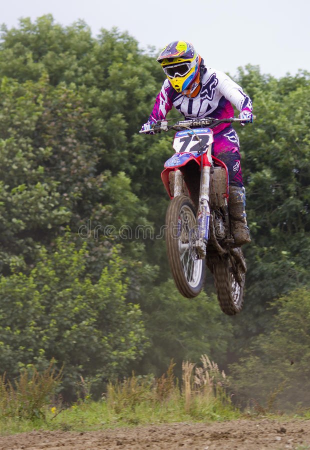 Motocross Riders. Motocross riders practice at track at Cambois, Northumberland royalty free stock photography