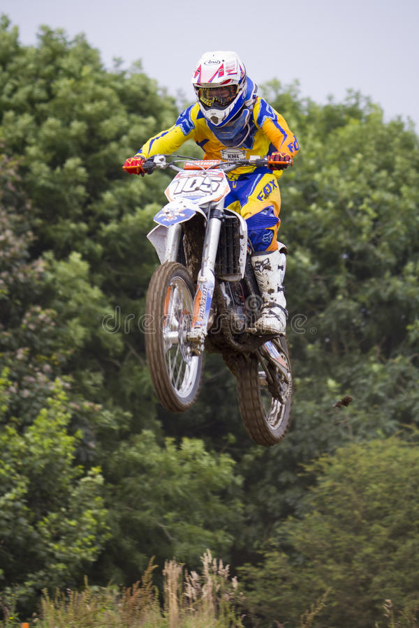 Motocross Riders. Motocross riders practice at track at Cambois, Northumberland royalty free stock photos