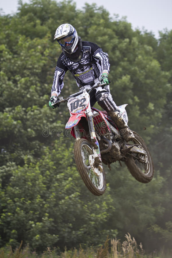 Motocross Riders. Motocross riders practice at track at Cambois, Northumberland stock photography