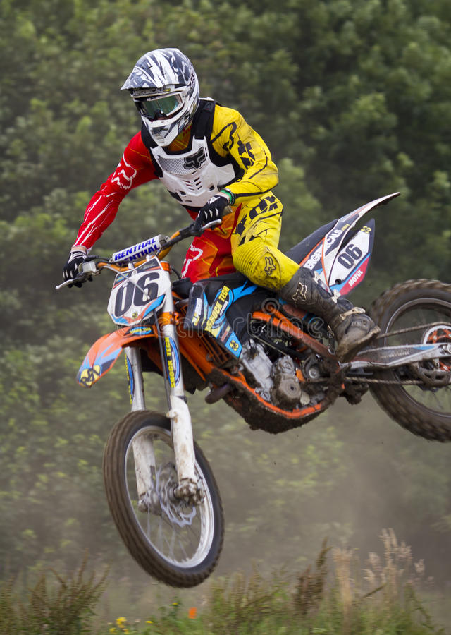 Motocross Riders. Motocross riders practice at track at Cambois, Northumberland stock image