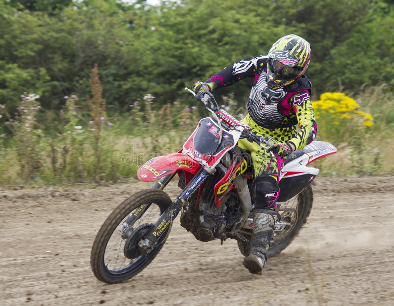 Motocross Riders. Motocross riders practice at track at Cambois, Northumberland royalty free stock photo