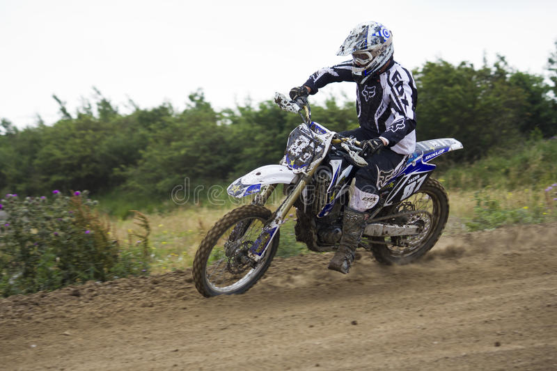 Motocross Riders. Motocross riders practice at track at Cambois, Northumberland royalty free stock image