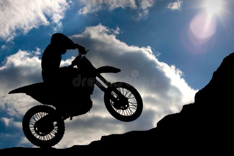 Motocross - siluetta fotografia stock libera da diritti
