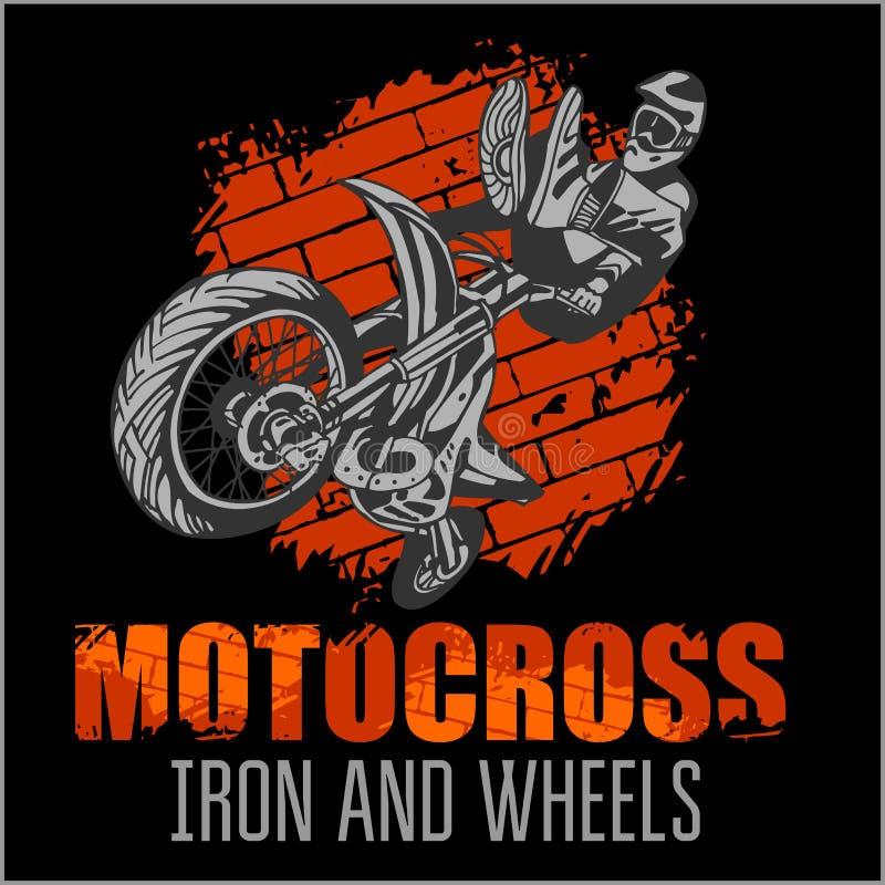 Motocross sport - grunge plakat ilustracji