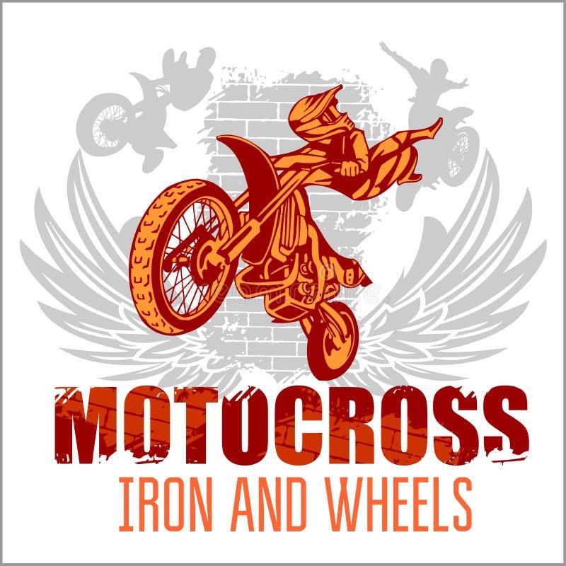 Motocross sport - grunge plakat royalty ilustracja
