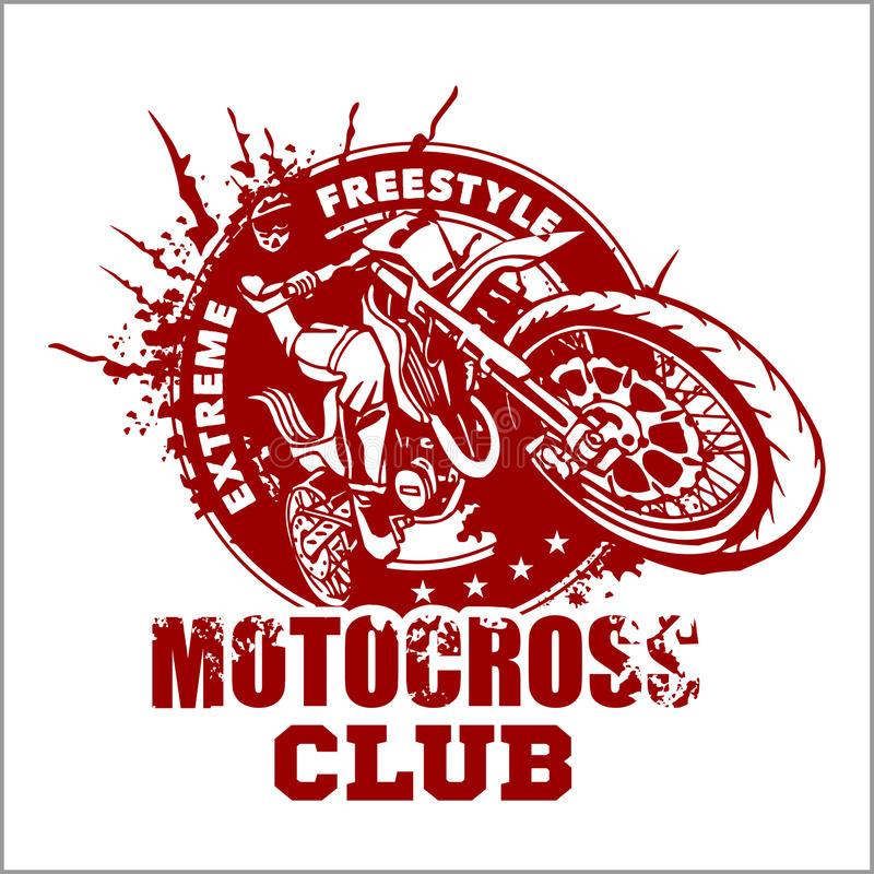 Motocross sporta emblemat ilustracja wektor