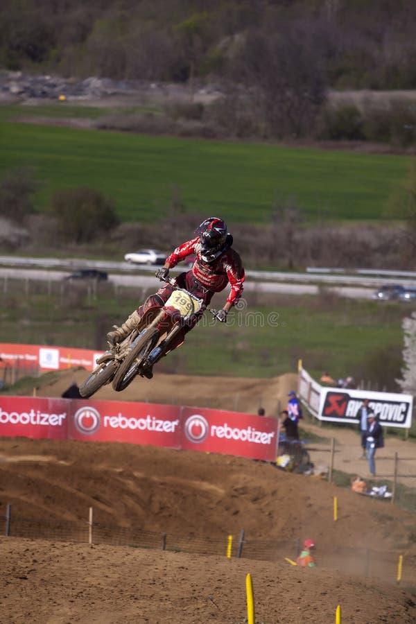 Motocross-sprong. royalty-vrije stock afbeelding