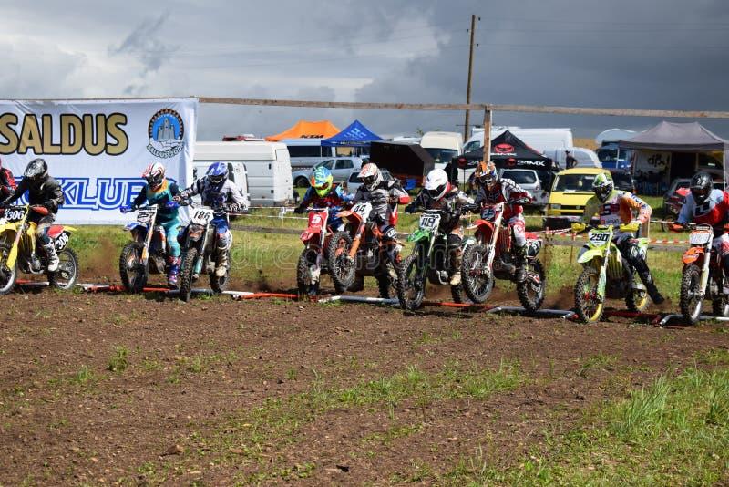 Motocross Saldus. Motocross start from Latvia, Saldus Silavotini royalty free stock image