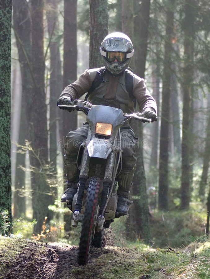 Free Motocross Through Forest Royalty Free Stock Photos - 4904348