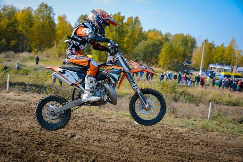 Motocross in Tomsk. Summer 2016 championship of city stock image