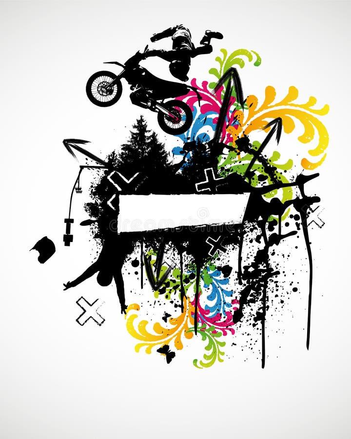 motocrossaffischsport vektor illustrationer